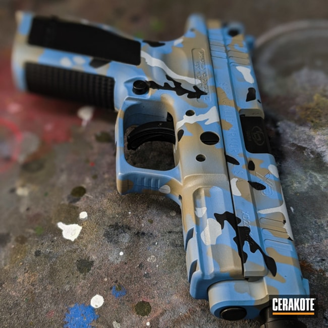 Springfield Armory Xd Cerakoted Using Stormtrooper White, Sea Blue And Gold