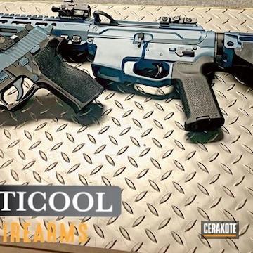 Sig Sauer P226 And Ar Build Cerakoted Using Graphite Black And Blue Titanium