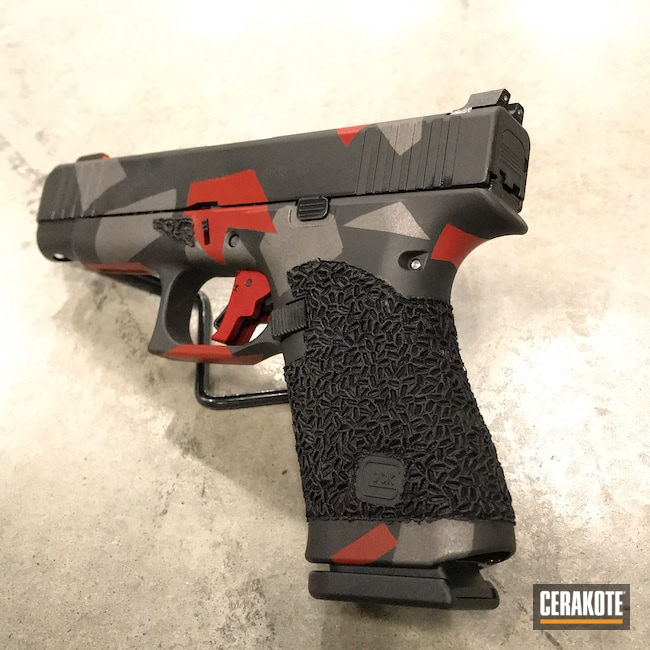 Cerakoted: Glock 48,S.H.O.T,Geometric,Graphite Black H-146,9mm Glock,Crimson H-221,Tungsten H-237,Glock
