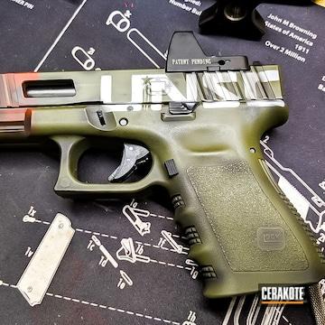 Battleworn Glock 19x Cerakoted Using Crimson, Stormtrooper White And Graphite Black