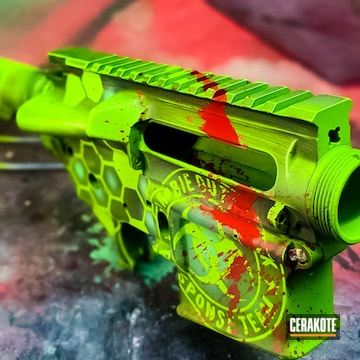 Zombie Splatter Themed Ar Builders Set Cerakoted Using Usmc Red, Zombie Green And Graphite Black