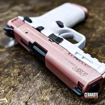 Smith & Wesson M&p Shield Cerakoted Using Snow White And Rose Gold