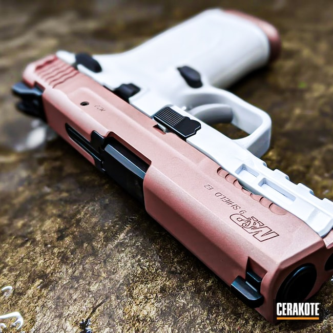 Cerakoted: S.H.O.T,Snow White H-136,Rose Gold,Girls Gun,ROSE GOLD H-327,M&P Shield
