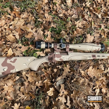 Multicam Remington 700 Cerakoted Using Desert Sand, Mcmillan® Tan And Light Sand