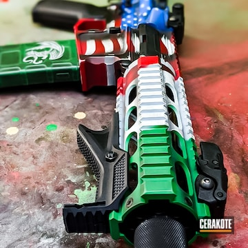 American And Mexican Flag Themed Ar Cerakoted Using Squatch Green, Stormtrooper White And Usmc Red
