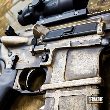 Battleworn Ar Build Cerakoted Using Troy® Coyote Tan, Desert Sand And Chocolate Brown