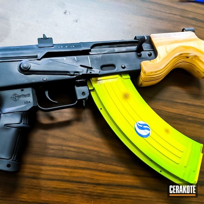 Cerakoted: S.H.O.T,Electric Yellow H-166,Banana,Mag,AK-47,Magazine,SQUATCH GREEN H-316,Banana Clip