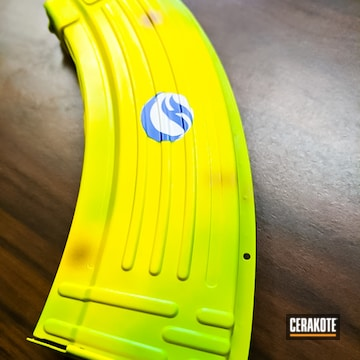 Ak-47 Mag Cerakoted Using Squatch Green And Electric Yellow