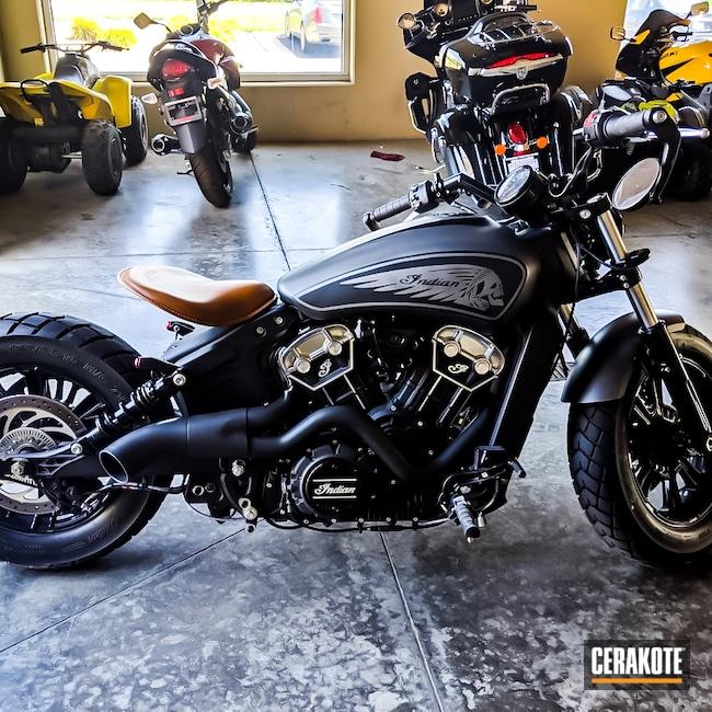 Cerakoted: Skulls,Skull,Indian,Graphite Black H-146,MATTE CERAMIC CLEAR MC-161,Crushed Silver H-255,Bobber,Automotive,Cobalt H-112,Motorcycle