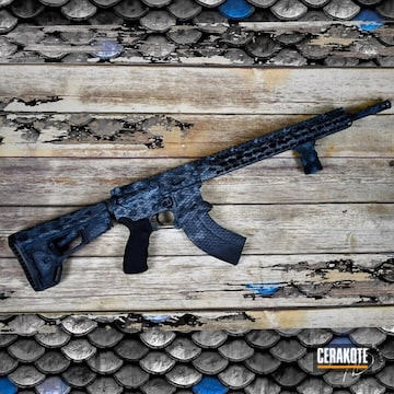 Snake Skin Camo Ar Build Cerakoted Using Magpul® Stealth Grey, Socom Blue And Stormtrooper White