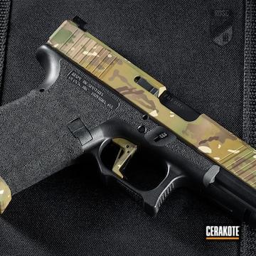 Multicam Glock 19 Cerakoted Using Desert Sand, Multicam® Pale Green And Benelli® Sand