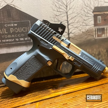 Canik Tp9 Cerakoted Using Blue Titanium And Gold
