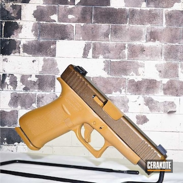 Two Tone Glock Cerakoted Using Troy® Coyote Tan And Burnt Bronze