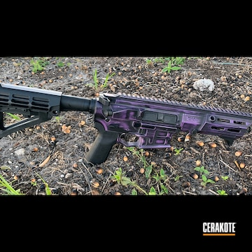 Battleworn Ar Cerakoted Using Graphite Black And Bright Purple