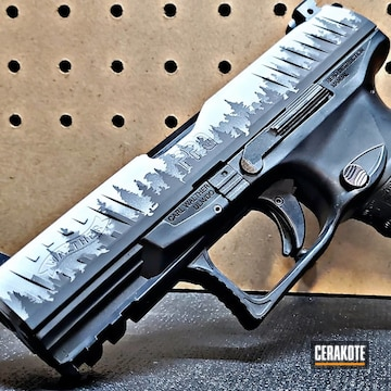 Custom Walther Ppq Cerakoted Using Snow White, Concrete And Graphite Black