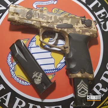 Digicam Ruger P85 Cerakoted Using Gen Ii Desert Sand, Federal Brown And Magpul® Fde