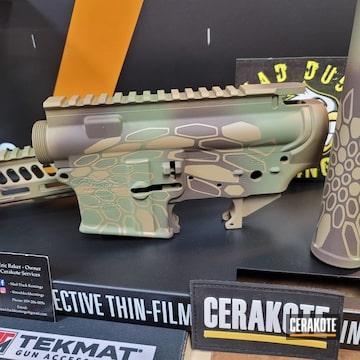 Anderson Ar Builders Set Cerakoted Using Chocolate Brown, Coyote Tan And Multicam® Dark Green