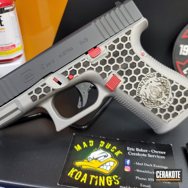 Cerakoted: S.H.O.T,Glock 19,RUBY RED H-306,SAVAGE® STAINLESS H-150,Armor Black H-190,Glock