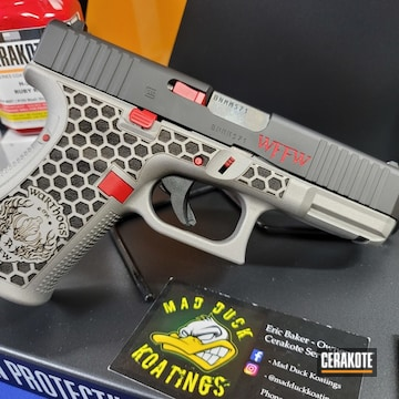 Custom Glock 19 Cerakoted Using Savage® Stainless, Armor Black And Ruby Red