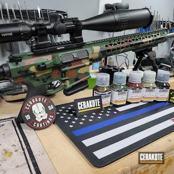Woodland Camo Ar Build Cerakoted Using Armor Black, Multicam® Dark Brown And Multicam® Pale Green