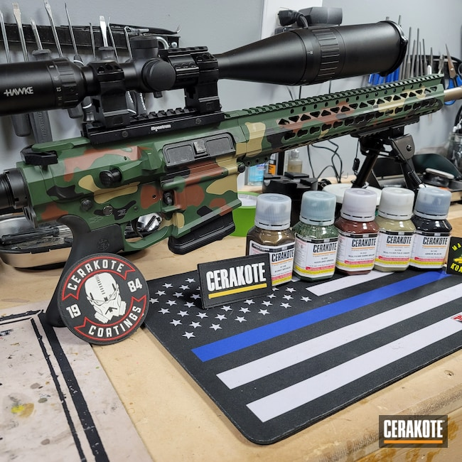 Cerakoted: S.H.O.T,Highland Green H-200,Live Free Amory,Burnt Bronze H-148,Camo,Armor Black H-190,MULTICAM® DARK BROWN H-342,.308,MULTICAM® PALE GREEN H-339