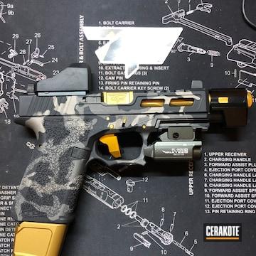 Dark Multicam Glock 19 Clone Cerakoted Using Tungsten, Cerakote Glacier Black And Cerakote Glacier Titanium