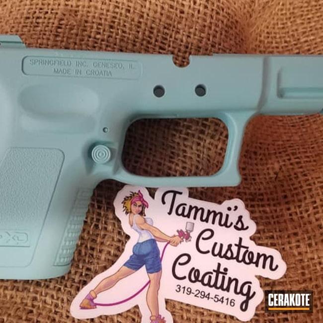 Cerakoted: S.H.O.T,9mm,Handgun Frame,Robin's Egg Blue H-175,Gun Parts,Springfield Armory