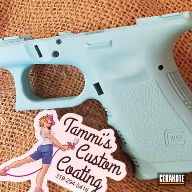 Cerakoted: S.H.O.T,9mm,Robin's Egg Blue H-175,Glock,Gun Parts,Glock Frame,Handgun
