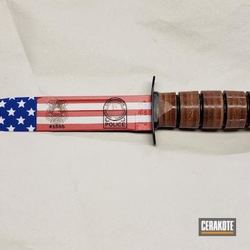 American Flag Themed Ka-bar Knife Cerakoted Using Snow White, Usmc Red And Nra Blue