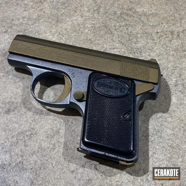 Cerakoted: S.H.O.T,Pocket Pistol,Baby Browning,Refurbished,Pocketgun,Two Tone,Tungsten H-237,Pistol,Firearms,Handgun,Mini,25 auto,Burnt Bronze H-148,Browning