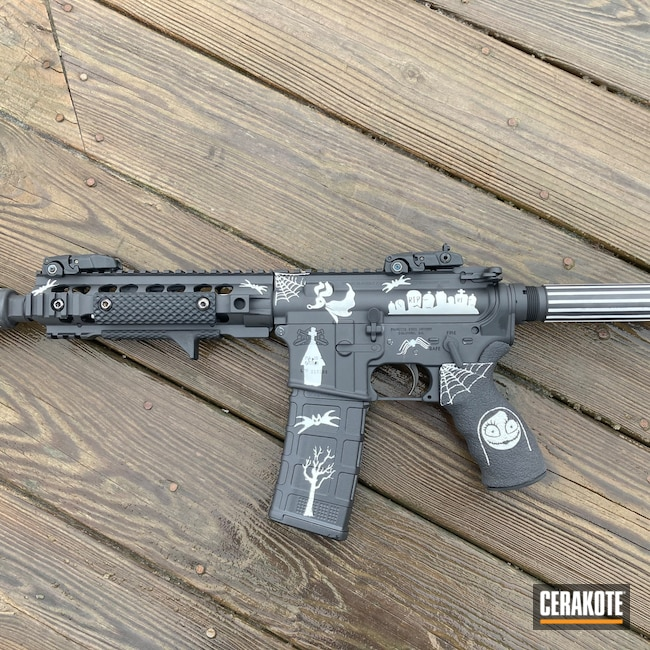 Cerakoted: Bright White H-140,S.H.O.T,Graphite Black H-146,ar 15 pistol,.223,AR-15