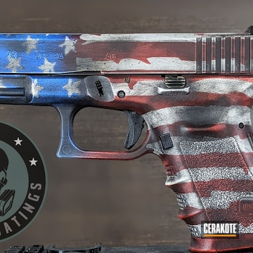 American Flag Themed Glock 23 Cerakoted Using Ridgeway Blue, Usmc Red And Graphite Black