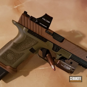 Zev Pistol Cerakoted Using Troy® Coyote Tan And Noveske Bazooka Green