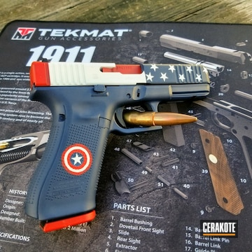 Avengers Themed Glock 22 Gen 5 Cerakoted Using Kel-tec® Navy Blue, Stormtrooper White And Ruby Red