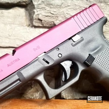 Glock 17 Slide Cerakoted Using Black Cherry And Cobalt