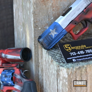 Texas And American Flag Pistols Themed Pistols Cerakoted Using Usmc Red And Nra Blue