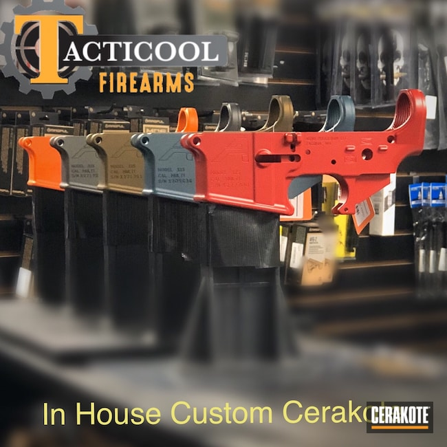 Cerakoted: S.H.O.T,Multi cal,Lower,Aero,Lower Receiver,Tungsten H-237,Aero Precision,Receiver,RUBY RED H-306,Burnt Bronze H-148,X15,Hunter Orange H-128,Blue Titanium H-185,AR-15