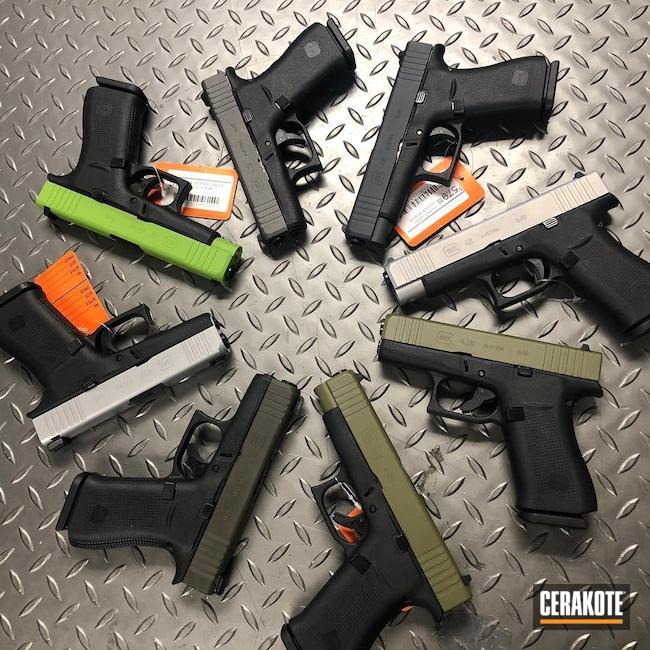 Cerakoted: S.H.O.T,Glock 43X,g43x,Zombie Green H-168,Tungsten H-237,Pistol,Noveske Bazooka Green H-189,MAGPUL® O.D. GREEN H-232,g48,43x,Handgun,Glock 48,9mm,Graphite Black H-146,Glock