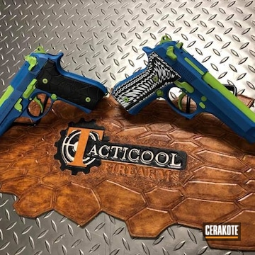 Beretta Pistols Cerakoted Using Ridgeway Blue And Zombie Green