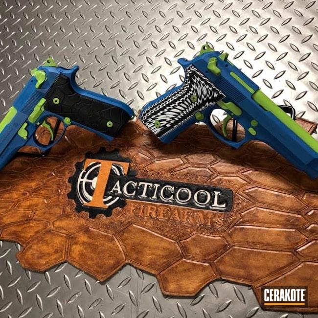 Cerakoted: S.H.O.T,9mm,Zombie Green H-168,Ridgeway Blue H-220,Pistol,Beretta,92FS,m9,Handgun