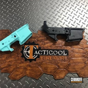 Aero Precision Lowers Cerakoted Using Graphite Black And Robin's Egg Blue