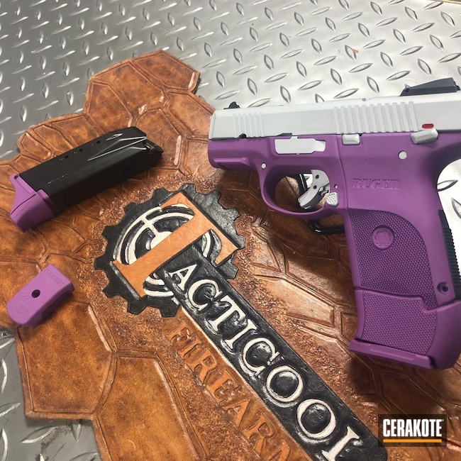 Cerakoted: S.H.O.T,9mm,Ruger,SR9c,Wild Purple H-197,Crushed Silver H-255,Pistol,Handgun