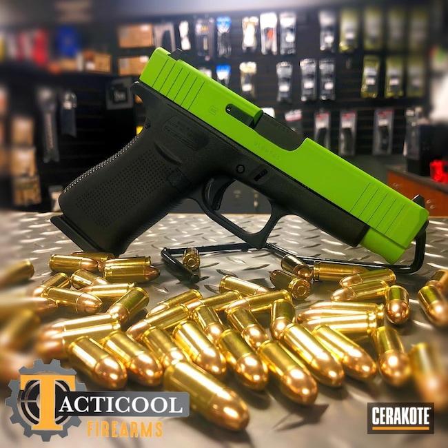 Cerakoted: S.H.O.T,Glock 48,9mm,Glock Slide,Zombie Green H-168,Pistol,Glock,Slide,g48,Handgun