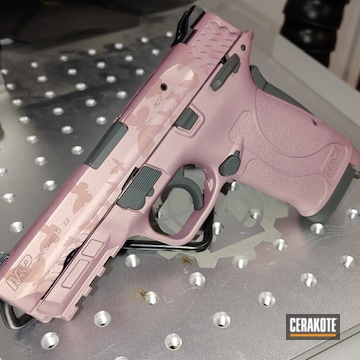 Smith & Wesson M&p Shield Cerakoted Using Sig™ Dark Grey And Pink Champagne