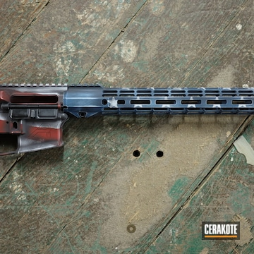 Distressed American Flag Themed Aero Precision Ar Builders Set Cerakoted Using Hidden White, Kel-tec® Navy Blue And Crimson
