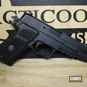 Sig Sauer P220 Cerakoted Using Socom Blue And Graphite Black
