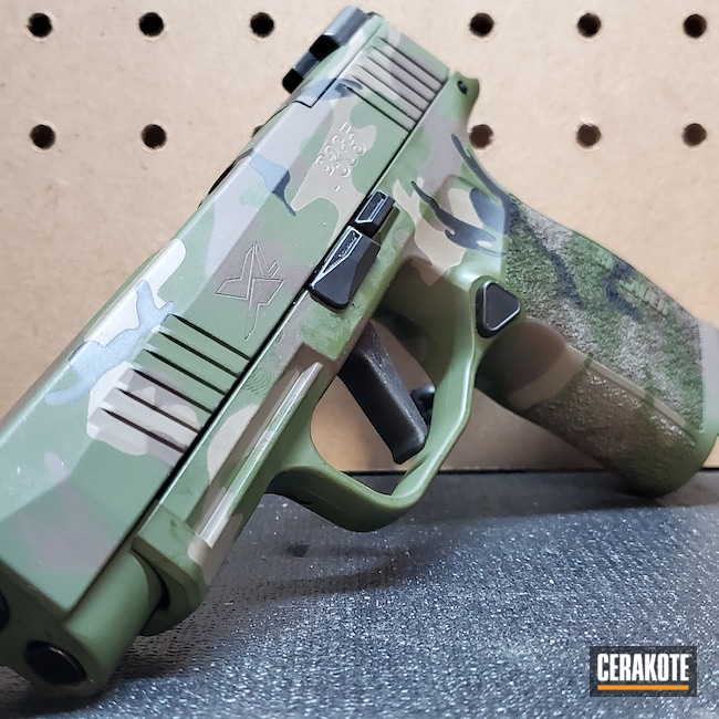 Cerakoted: S.H.O.T,Sig P365,MULTICAM® BRIGHT GREEN H-343,MAGPUL® FLAT DARK EARTH H-267,Woodland Camo,p365,m81 Camo,Pistol,Sig Sauer,Sig,O.D. Green H-236,9mm,Graphite Black H-146,Chocolate Brown H-258