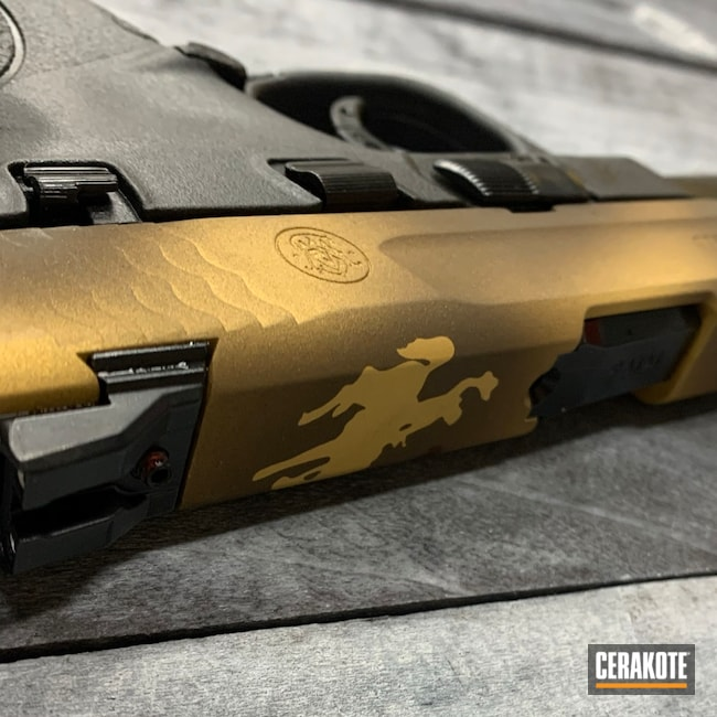 Cerakoted: S.H.O.T,M&P,wyoming,Burnt Bronze H-148,Shield,Gold H-122,Plum Brown H-298