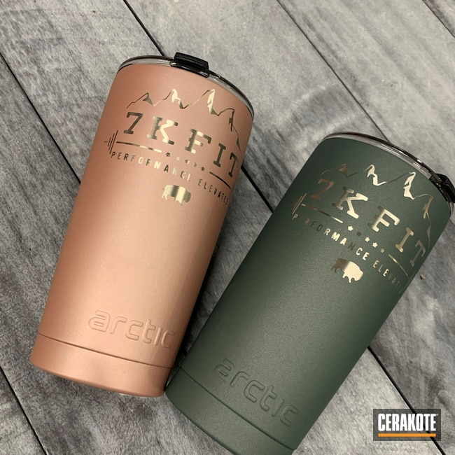 Cerakoted: CHARCOAL GREEN H-338,Corporate Swag,ROSE GOLD H-327,Tumbler