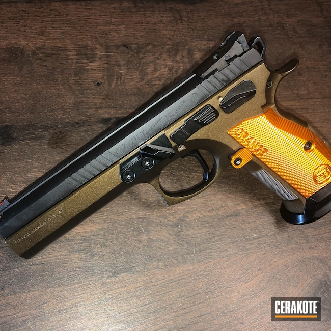 Cerakoted: S.H.O.T,9mm,CZ,1911,Midnight Bronze H-294